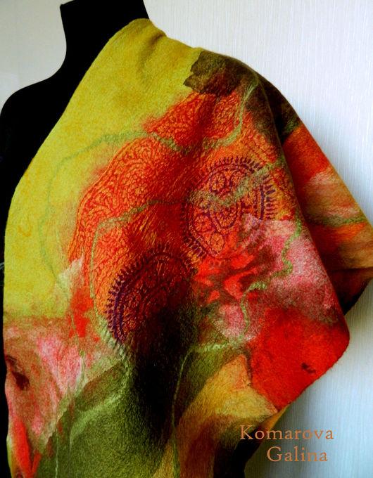 """Шарфы и шарфики ручной работы. Ярмарка Мастеров - ручная работа. Купить валяный шарф- палантин """"Осень"""". Handmade. Разноцветный, нуновойлок"""