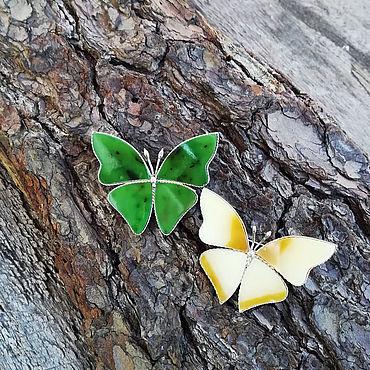Украшения ручной работы. Ярмарка Мастеров - ручная работа Броши-бабочки с настоящим нефритом. Handmade.
