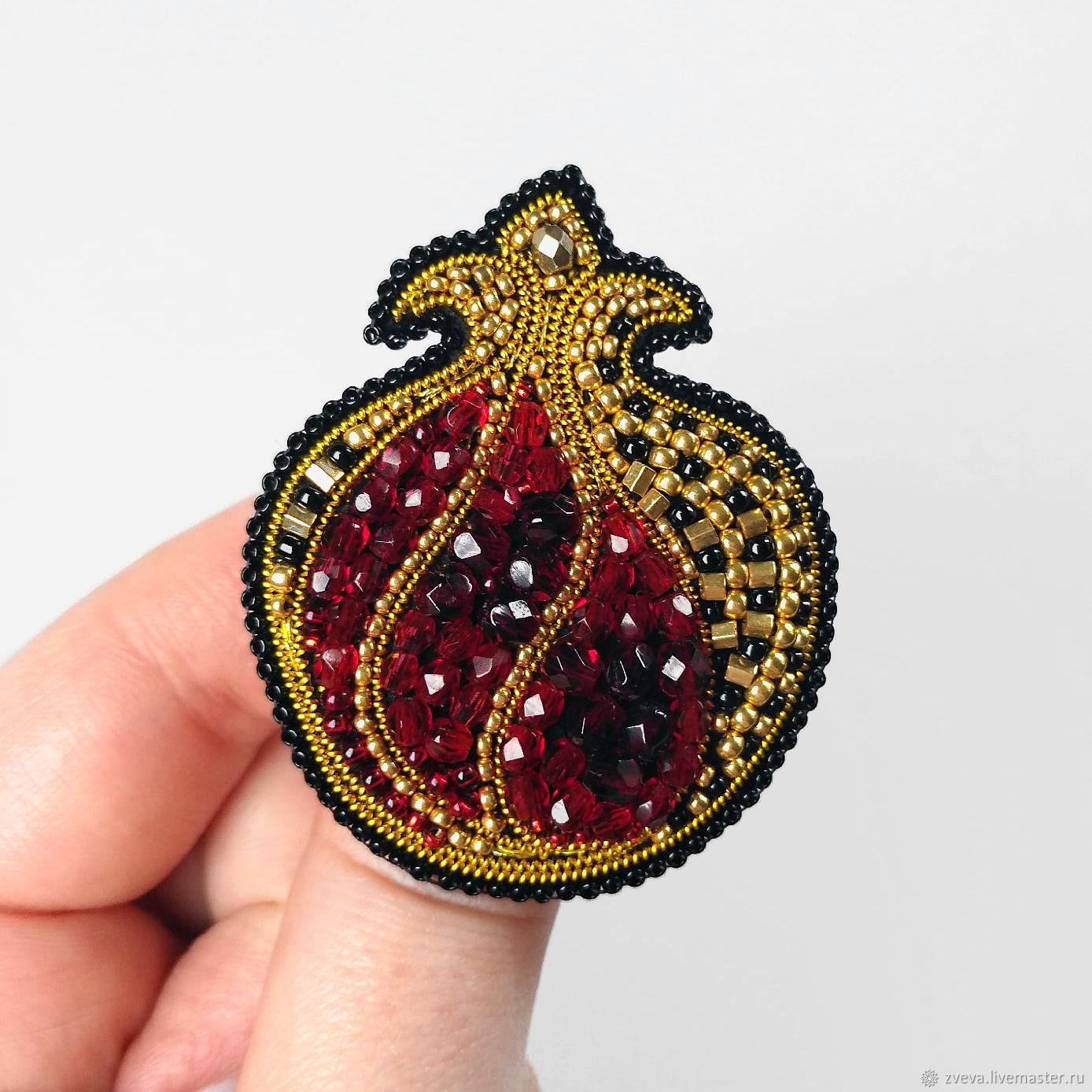 Garnet bead brooch Eastern red, fruit brooch, Brooches, Smolensk,  Фото №1