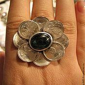 Украшения ручной работы. Ярмарка Мастеров - ручная работа Кольцо с из серебра с монетками и натуральными камнями. Handmade.