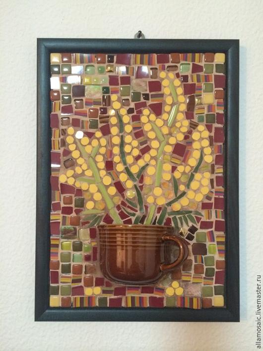 """Натюрморт ручной работы. Ярмарка Мастеров - ручная работа. Купить Мозаика из керамики """"Мимоза"""". Handmade. Мозаика, цветы, панно на стену"""