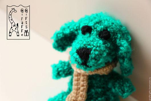 Игрушки животные, ручной работы. Ярмарка Мастеров - ручная работа. Купить Изумрудный щенок. Handmade. Зеленый, собака, шарф