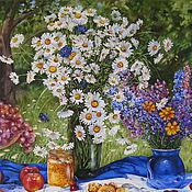 Картины и панно ручной работы. Ярмарка Мастеров - ручная работа Картина маслом. В летнем саду. Handmade.