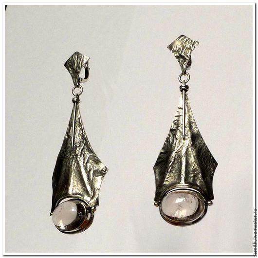 Серьги ручной работы. Ярмарка Мастеров - ручная работа. Купить Серьги серебряные с горным хрусталем 3. Handmade. Кварц