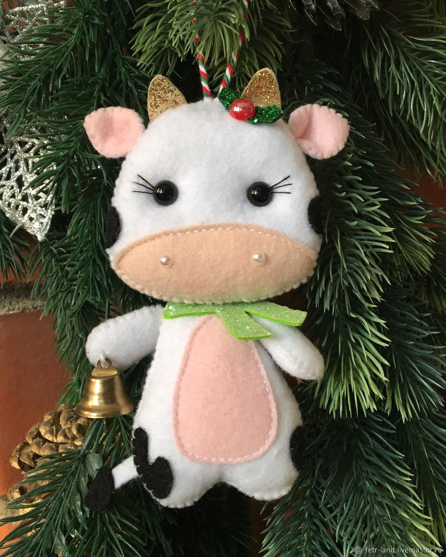 Christmas toys made of felt bull (cow) Christmas toys made of felt, Christmas decorations, Belgorod,  Фото №1