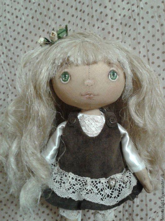 Куклы тыквоголовки ручной работы. Ярмарка Мастеров - ручная работа. Купить Ниночка, текстильная кукла.. Handmade. Коричневый, микровельвет