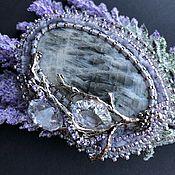 Украшения handmade. Livemaster - original item Beaded brooch with moonstone and Austrian crystals. Handmade.