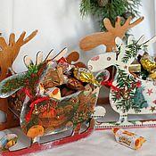Сувениры и подарки handmade. Livemaster - original item New Year`s sleigh candy bowl Deer Christmas tree. Handmade.