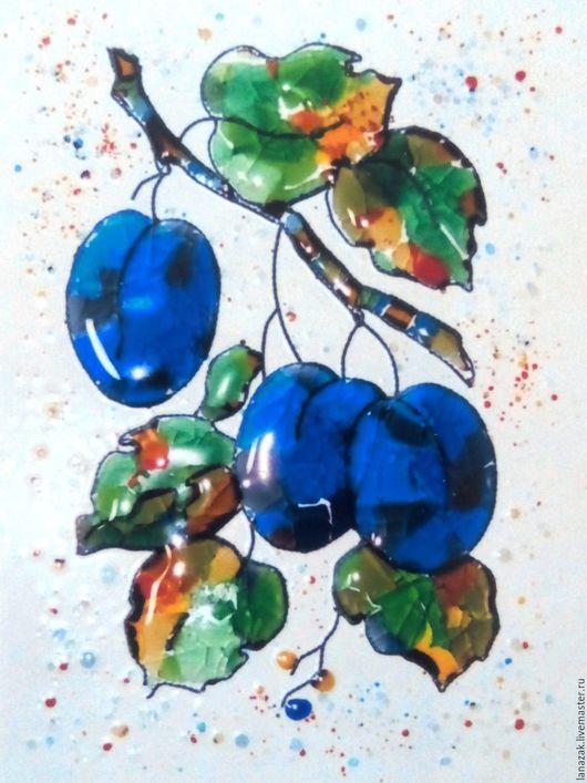 Натюрморт ручной работы. Ярмарка Мастеров - ручная работа. Купить Панно из стекла на керамике Синяя слива. Фьюзинг.. Handmade. Комбинированный