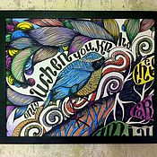 Картины и панно ручной работы. Ярмарка Мастеров - ручная работа Африканская Задумчивая Птица. Handmade.