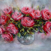 Картины и панно handmade. Livemaster - original item Picture of wool a Bouquet of roses in a vase. Handmade.