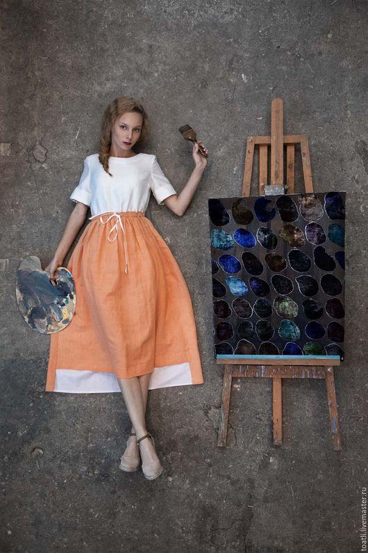 Платья ручной работы. Ярмарка Мастеров - ручная работа. Купить Платье из шелка и льна с карманами на кулиске. Handmade. Оранжевый