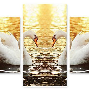 """Картины и панно ручной работы. Ярмарка Мастеров - ручная работа Модульная картина """"Два лебедя"""". Handmade."""