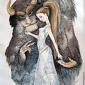 Картины и панно ручной работы. Ярмарка Мастеров - ручная работа Красавица и чудовище. Handmade.