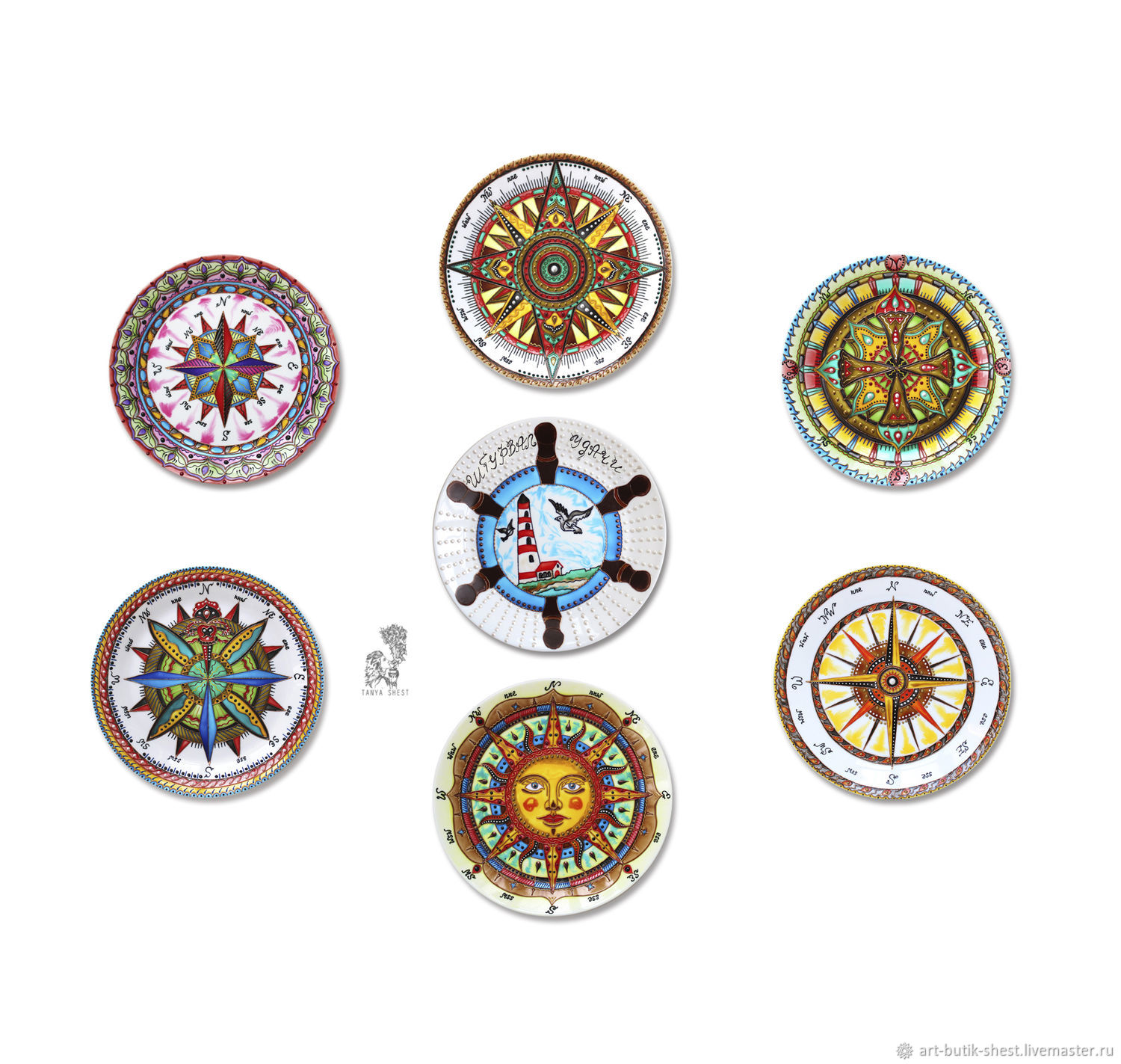 'In the marine style' set of plates on the wall with compasses, Plates, Krasnodar,  Фото №1