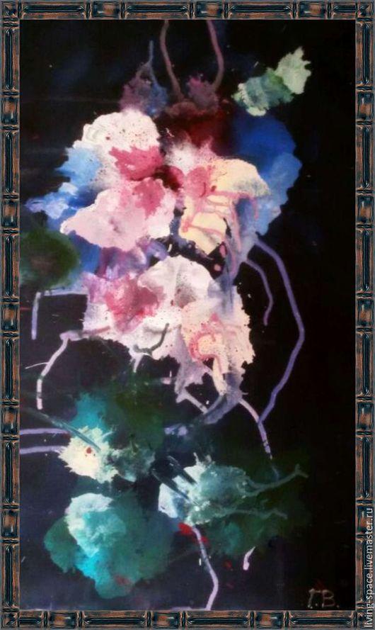 Абстракция ручной работы. Ярмарка Мастеров - ручная работа. Купить интерьерная картина Дыхание цветов. Handmade. Фуксия, современный дизайн
