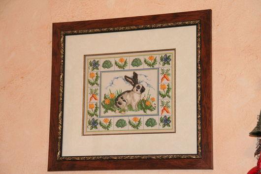 """Животные ручной работы. Ярмарка Мастеров - ручная работа. Купить Вышитая картина"""" Кролик"""". Handmade. Вышивка, Вышитая картина, кролик"""