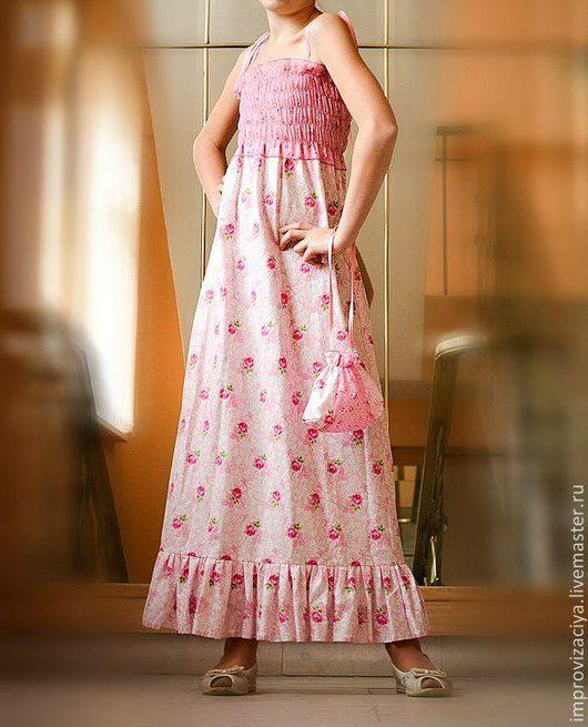 """Одежда для девочек, ручной работы. Ярмарка Мастеров - ручная работа. Купить Летний сарафан для девочки """"Барышня-крестьянка""""Розовое. Handmade. Розовый"""