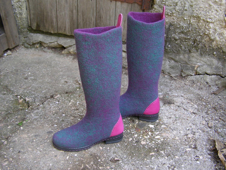 """Обувь ручной работы. Ярмарка Мастеров - ручная работа. Купить Валенки-сапожки """"Оглянись"""". Handmade. Мокрое валяние, валенки на подошве"""