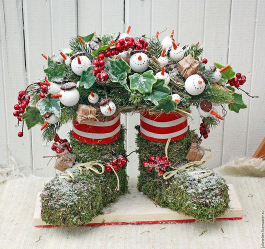 Новый год 2017 ручной работы. Ярмарка Мастеров - ручная работа. Купить Композиция Снеговики. Handmade. Зеленый, Праздник