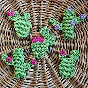 Украшения ручной работы. Ярмарка Мастеров - ручная работа Брошь-кактус вязаная. Handmade.