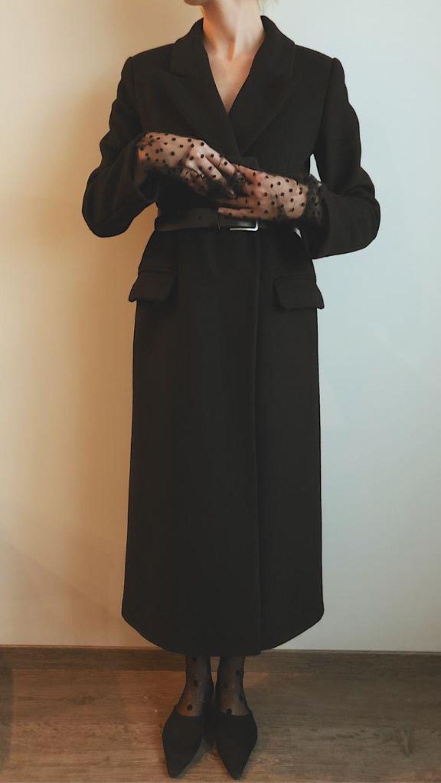 Двубортное черное пальто из натуральной шерсти, Верхняя одежда, Москва, Фото №1