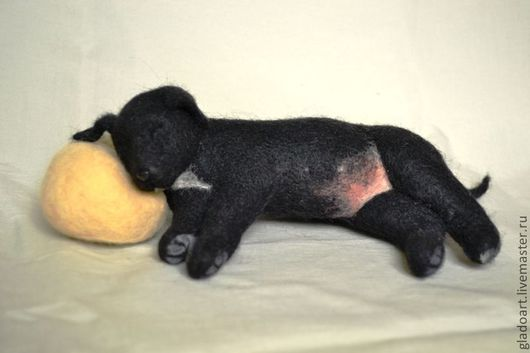 """Игрушки животные, ручной работы. Ярмарка Мастеров - ручная работа. Купить Волочная игрушка """"Сладкий сон"""". Handmade. Черный, щенок"""