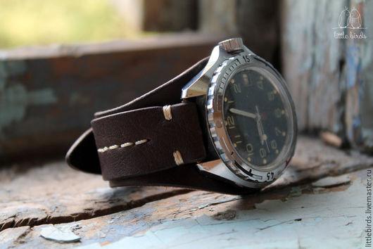 Часы ручной работы. Ярмарка Мастеров - ручная работа. Купить Ремешок на часы из натуральной кожи. Handmade. Коричневый, мужской подарок