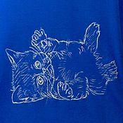 Одежда ручной работы. Ярмарка Мастеров - ручная работа Майка женская синяя с ручной металлизированной росписью, котёнок.. Handmade.
