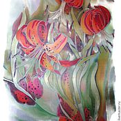 Аксессуары handmade. Livemaster - original item Batik Tippet felted Tiger Lily. Handmade.