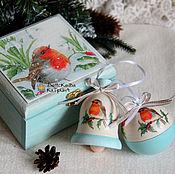 """Подарки к праздникам ручной работы. Ярмарка Мастеров - ручная работа Набор игрушек в коробе """"Снегири"""". Handmade."""