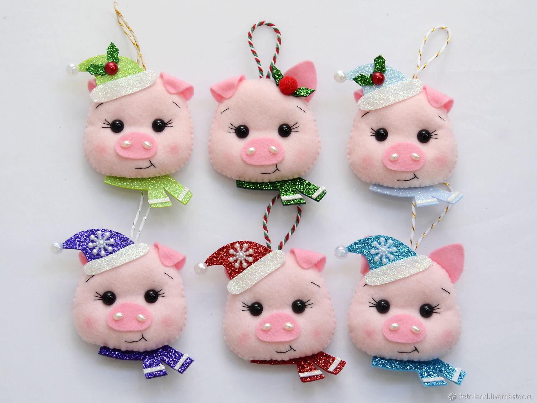 Christmas toy felt ' Pig ' ('Boar'), Christmas decorations, Belgorod,  Фото №1