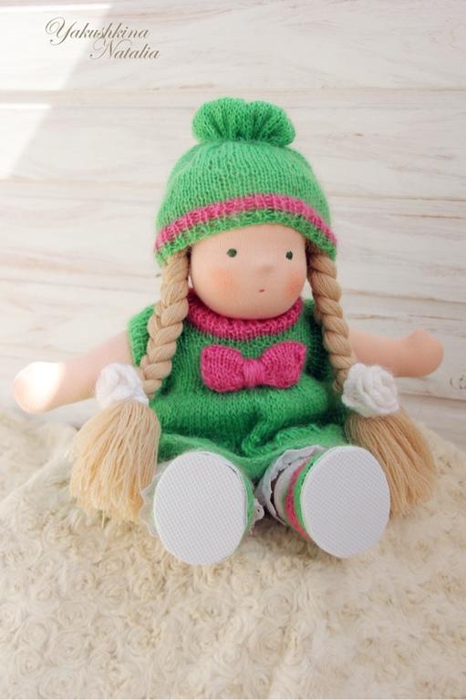 Вальдорфская игрушка ручной работы. Ярмарка Мастеров - ручная работа. Купить Капиталина (Капа) - вальдорфская куколка. Handmade. Зеленый