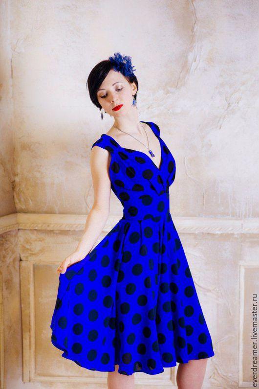 Платья ручной работы. Ярмарка Мастеров - ручная работа. Купить Платье Наслаждение Синим цветом. Handmade. Тёмно-синий