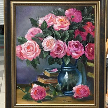 Картины и панно ручной работы. Ярмарка Мастеров - ручная работа Розы в синей вазе. Handmade.