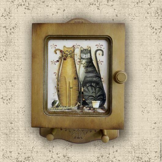 Ключница,Ключница ручной работы, ключница декупаж, ключница с кошками, ключница-шкафчик.