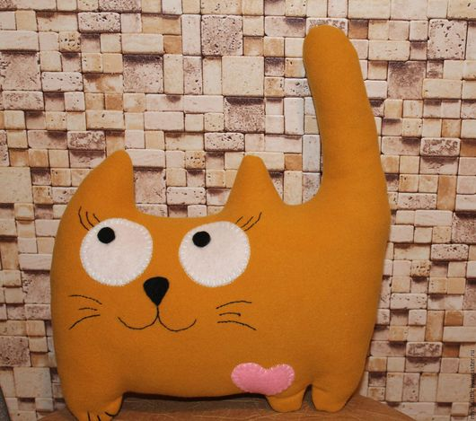 Игрушки животные, ручной работы. Ярмарка Мастеров - ручная работа. Купить Кошка Муська. Handmade. Оранжевый, кошка, романтика, драп