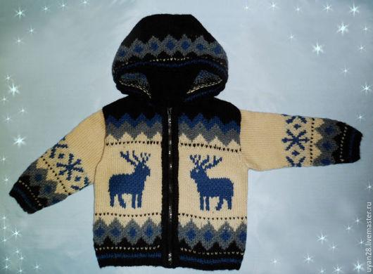 """Одежда для мальчиков, ручной работы. Ярмарка Мастеров - ручная работа. Купить детская кофта """"Северные олени"""". Handmade. Кофта для мальчика"""