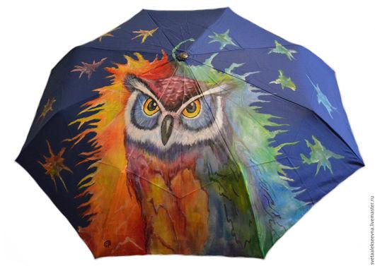 """Зонты ручной работы. Ярмарка Мастеров - ручная работа. Купить Зонт с ручной росписью """"Сова"""". Handmade. Тёмно-синий"""