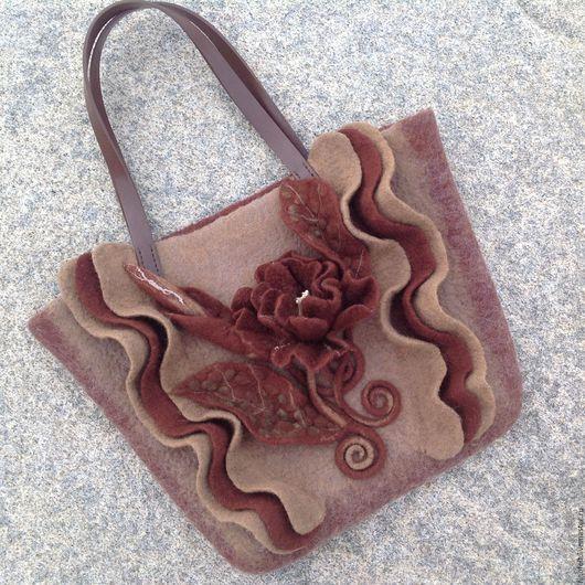 Женские сумки ручной работы. Ярмарка Мастеров - ручная работа. Купить Войлочная сумка Шоколадный цветок. Handmade. Комбинированный
