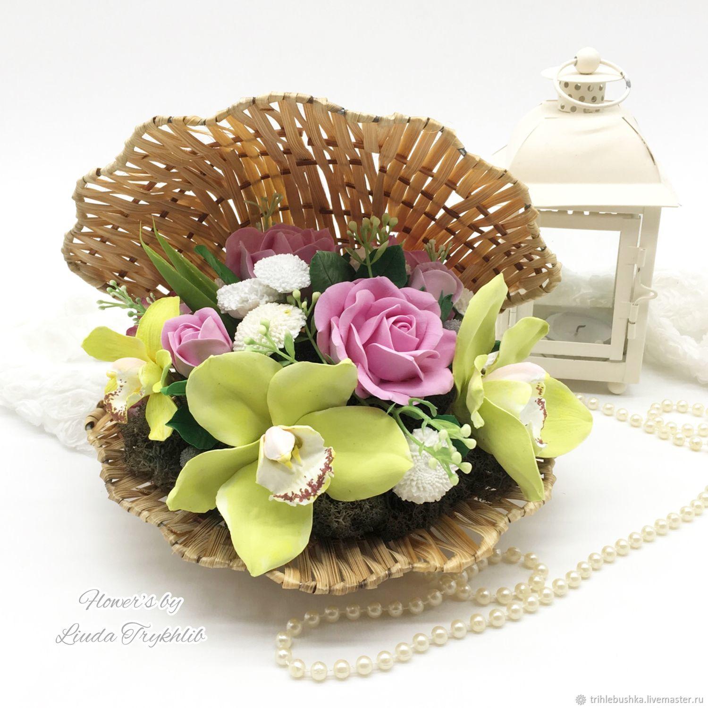 Ракушка с цветами из глины, Украшения для дома, Киев,  Фото №1