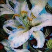"""Картины и панно ручной работы. Ярмарка Мастеров - ручная работа Картина шерстью """"Белые Лилии"""". Handmade."""