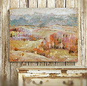 Картины и панно handmade. Livemaster - original item The picture is a song about the autumn (olive, gray, red, autumn landscape). Handmade.