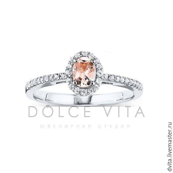 Золотое кольцо с морганитом и бриллиантами, Кольца, Санкт-Петербург,  Фото №1
