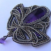 Украшения handmade. Livemaster - original item Brooch with natural amethysts. Handmade.