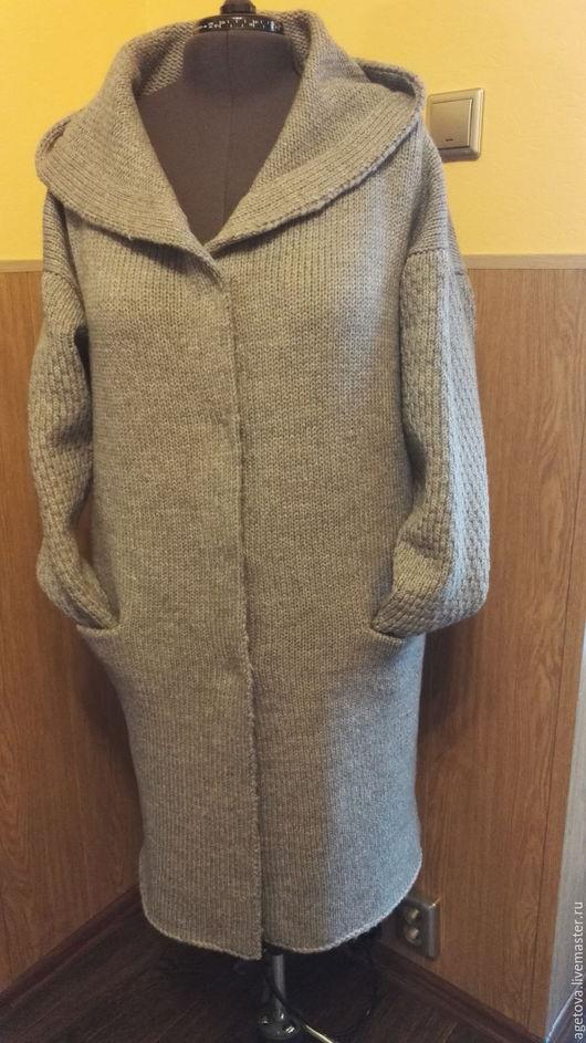 Верхняя одежда ручной работы. Ярмарка Мастеров - ручная работа. Купить Серый меланж. Handmade. Вязаное пальто, пальто
