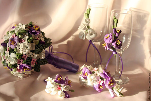 Свадебные цветы ручной работы. Ярмарка Мастеров - ручная работа. Купить Букет невесты из полименой глины. Handmade. Букет
