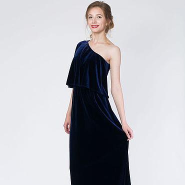 Одежда ручной работы. Ярмарка Мастеров - ручная работа Вечернее платье на одно плечо из бархата. Handmade.