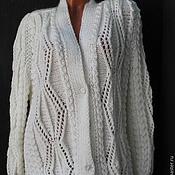 Одежда ручной работы. Ярмарка Мастеров - ручная работа Большой размер вязаная кофта кардиган с козьим пухом  белая. Handmade.