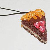 Аксессуары ручной работы. Ярмарка Мастеров - ручная работа брелок тортик апельсиново-шоколадный. Handmade.